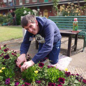 Wayne gardening at Doughtys